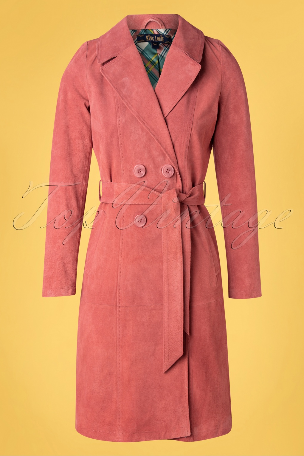 Vintage Coats & Jackets | Retro Coats and Jackets 60s Mia Suede Coat in Dusty Rose £219.30 AT vintagedancer.com