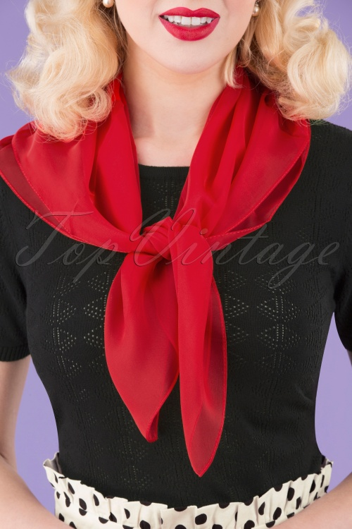Unique Vintage 33503 Chiffon Hair Scarf Red 042M W
