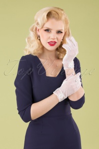 Unique Vintage 33506 Floral Mesh Gloves Off White 040M W