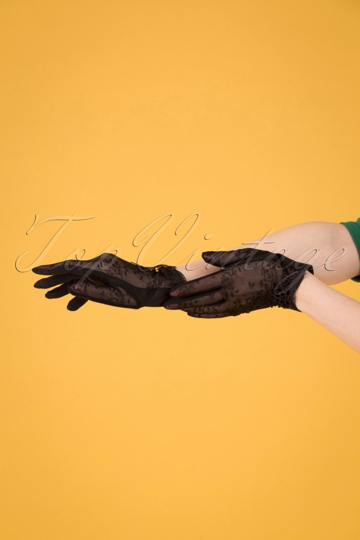 Vintage Style Gloves- Long, Wrist, Evening, Day, Leather, Lace 40s Embroidered Mesh Wrist Gloves in Black £26.98 AT vintagedancer.com