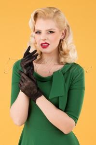 Unique Vintage 33504 Embroidered Mesh Gloves Black 040M W