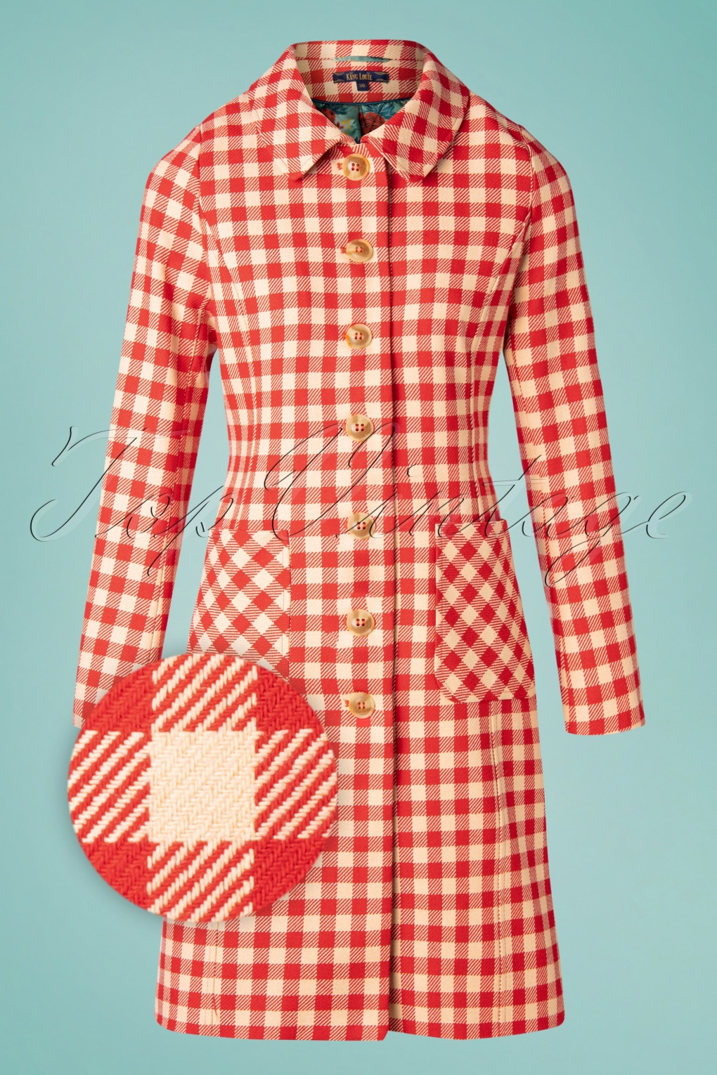 Vintage Coats & Jackets | Retro Coats and Jackets 60s Nathalie Nimes Check Coat in Red £131.56 AT vintagedancer.com