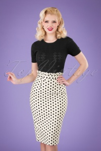 50s Polka Frill Pencil Skirt in White