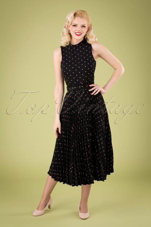 Closet London 33340 Polkadot Black Pink Dress 200117 040M W
