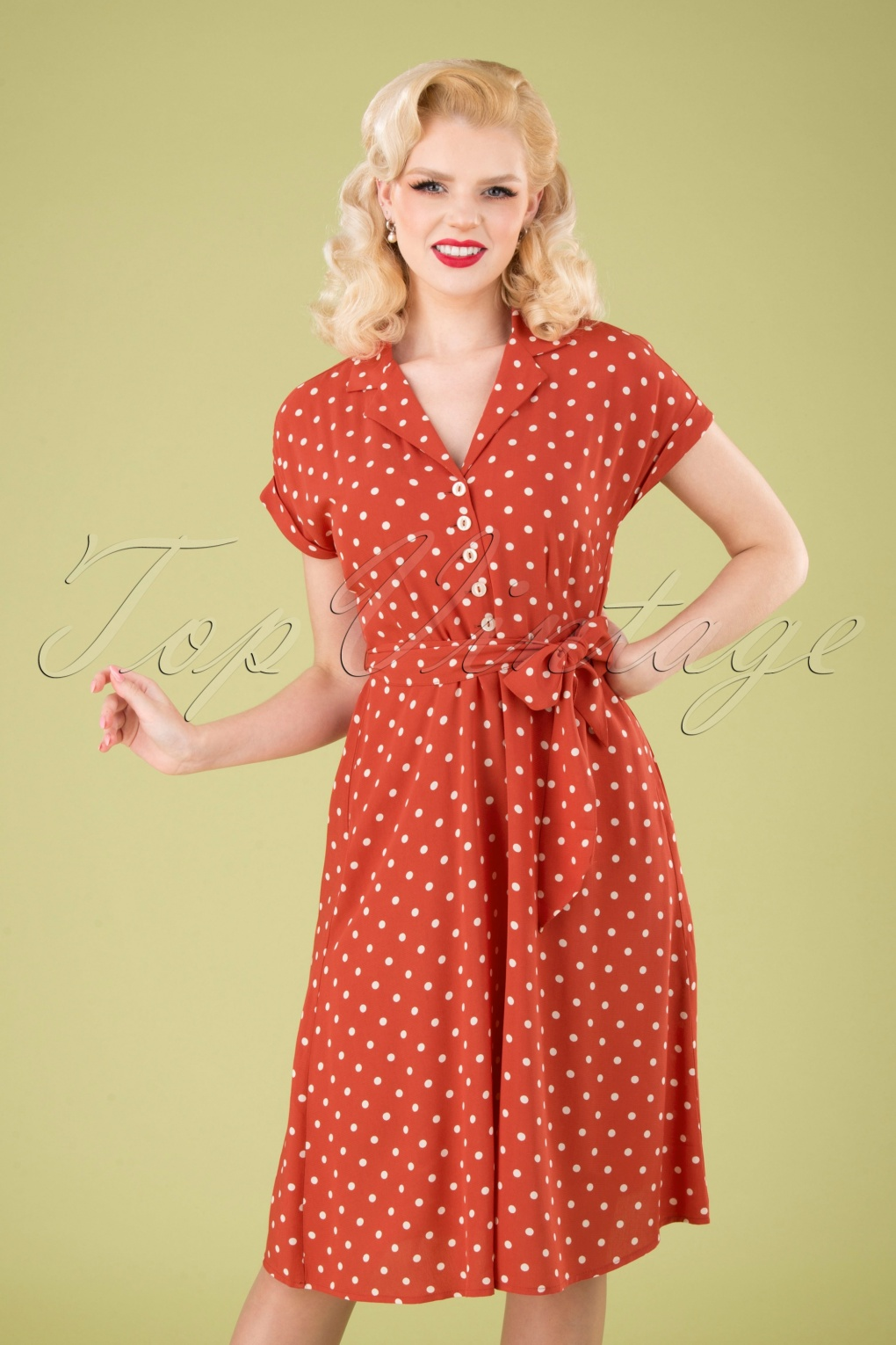 1940s Dresses | 40s Dress, Swing Dress 40s Darcy Pablo Dress in Apple Pink £96.47 AT vintagedancer.com
