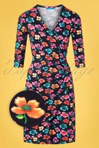 Buenos Aires Blossom Dress Années 60 en Noir