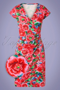 60s Buenos Aires Roses Dress in Red