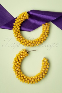 60s Beaded Hoop Earrings in Sunshine Yellow