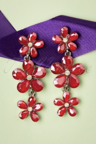 Julia Crystal Flower Earrings Années 50 en Rouge