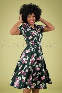 40s Caterina Vintage Bloom Swing Dress in Dark Green