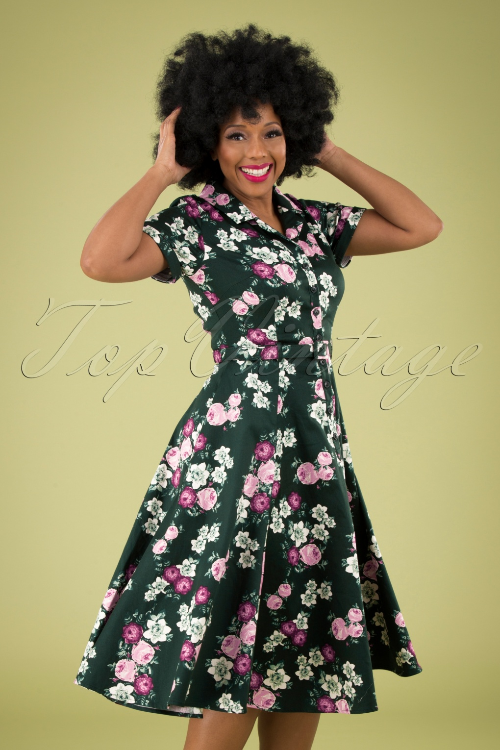 1940s Dresses | 40s Dress, Swing Dress 40s Caterina Vintage Bloom Swing Dress in Dark Green £67.82 AT vintagedancer.com