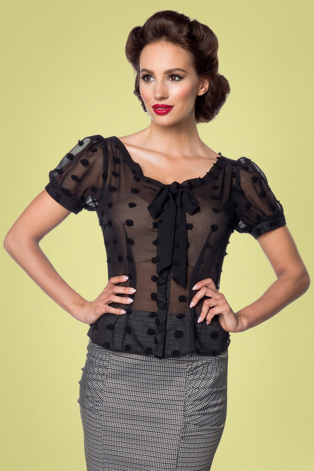 1950s Rockabilly & Pin Up Tops, Blouses, Shirts 50s Lynda Dots Blouse in Black £35.05 AT vintagedancer.com