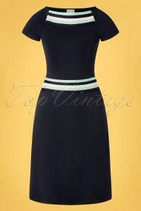 Mademoiselle YéYé 60s A Trip To Rome Dress in Navy