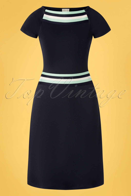 60s Dresses | 1960s Dresses Mod, Mini, Hippie 60s A Trip To Rome Dress in Navy £83.17 AT vintagedancer.com