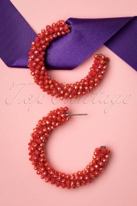 60s Beaded Hoop Earrings in Tomato Red