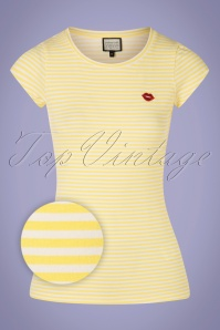 Mademoiselle YéYé 31957 T shirt Casual Elegance Stripes Yellow 20200204 002Z