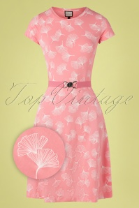 Mademoiselle YéYé 60s Oh Yeah Ginko Leaves Dress in Pink