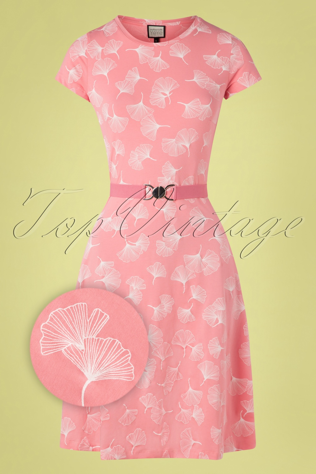60s Dresses | 1960s Dresses Mod, Mini, Hippie 60s Oh Yeah Ginko Leaves Dress in Pink £78.92 AT vintagedancer.com