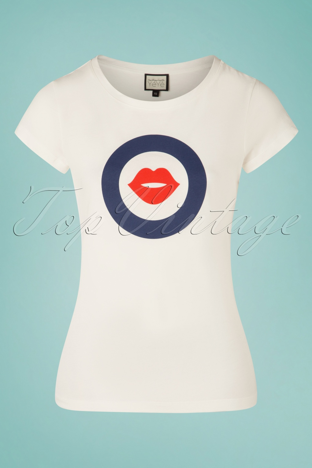 60s Shirts, T-shirt, Blouses, Hippie Shirts 60s With Kisses T-Shirt in White £29.58 AT vintagedancer.com
