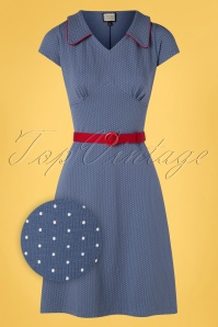 Mademoiselle YéYé 31937 Aline Dress Vintage Dot Blue 20200204 001Z