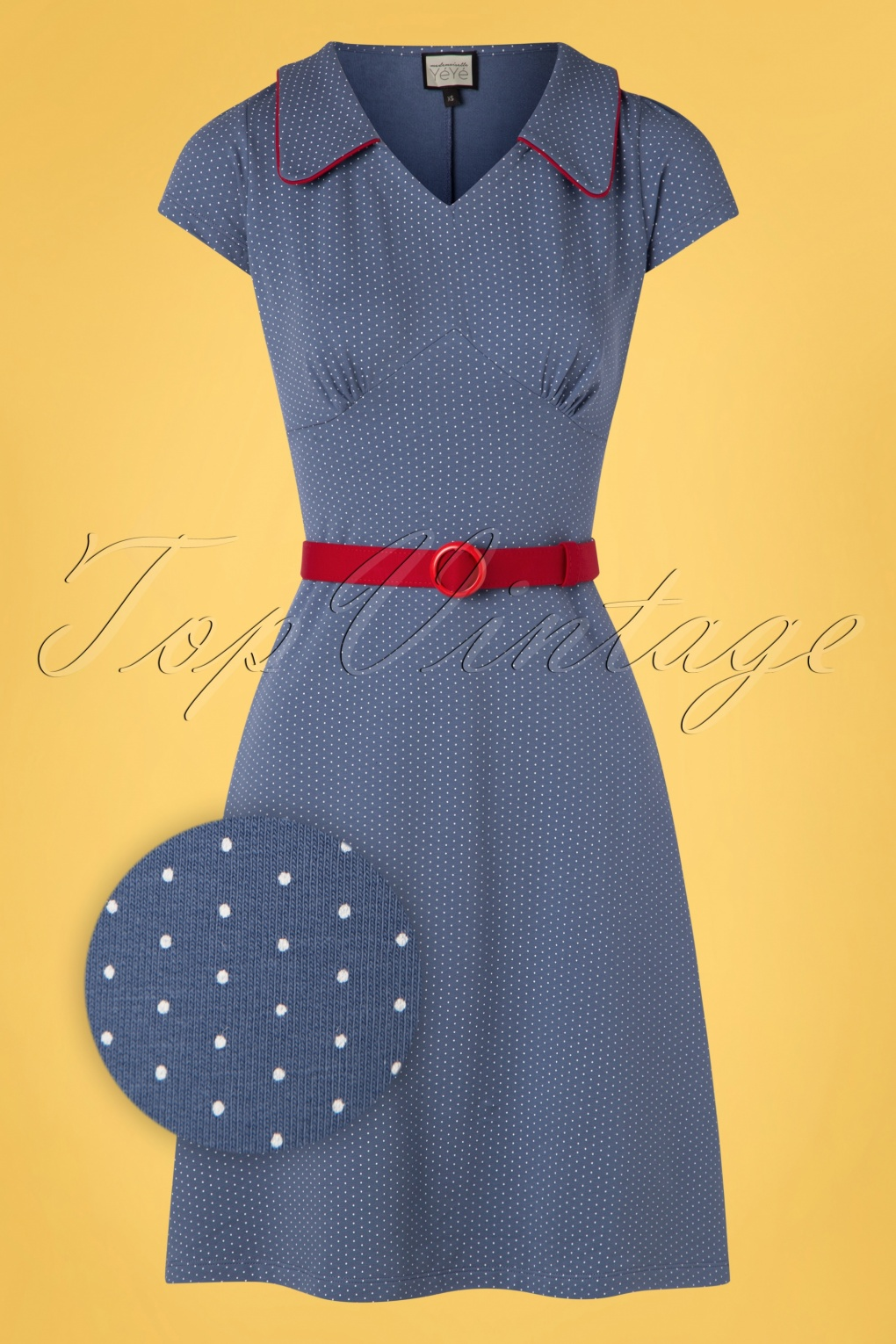 500 Vintage Style Dresses for Sale | Vintage Inspired Dresses 60s Vintage Moments Polkadots Dress in Blue £92.08 AT vintagedancer.com