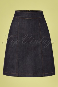 60s Modern Rock N Roll Skirt in Dark Denim Navy