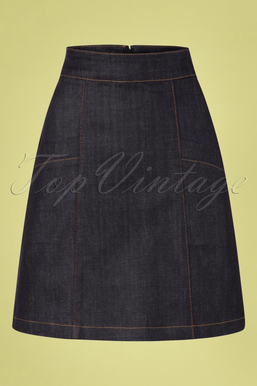 60s Skirts | 70s Hippie Skirts, Jumper Dresses 60s Modern Rock N Roll Skirt in Dark Denim Navy £56.99 AT vintagedancer.com