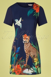 Yumi 60s Cheetah Tunic Dress in Navy