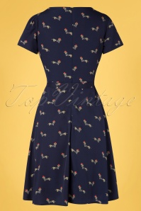 Yumi 32949 Aline Dress Sausage Dog Navy 20200204 005W