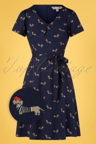 Yumi 60s Sausage Dog Skater Dress in Navy