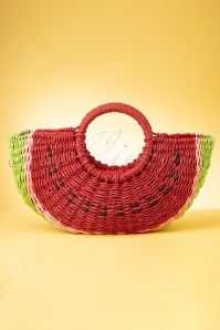 Amici 50s Sandia Watermelon Straw Bag in Red