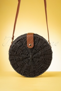70s Coco Round Straw Bag in Black