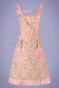 Collectif Clothing 50s Dolly Flower Apron in Pink