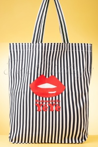 Mademoiselle YéYé 60s Take It All Striped Tote Bag in White and Blue