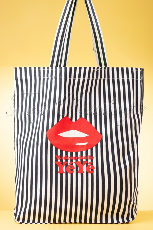 Mademoisele Yeye 31967 Bag Stripes Kiss Lips Black White 02052020 008 W