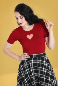 Bunny 60s Hearts Top in Red