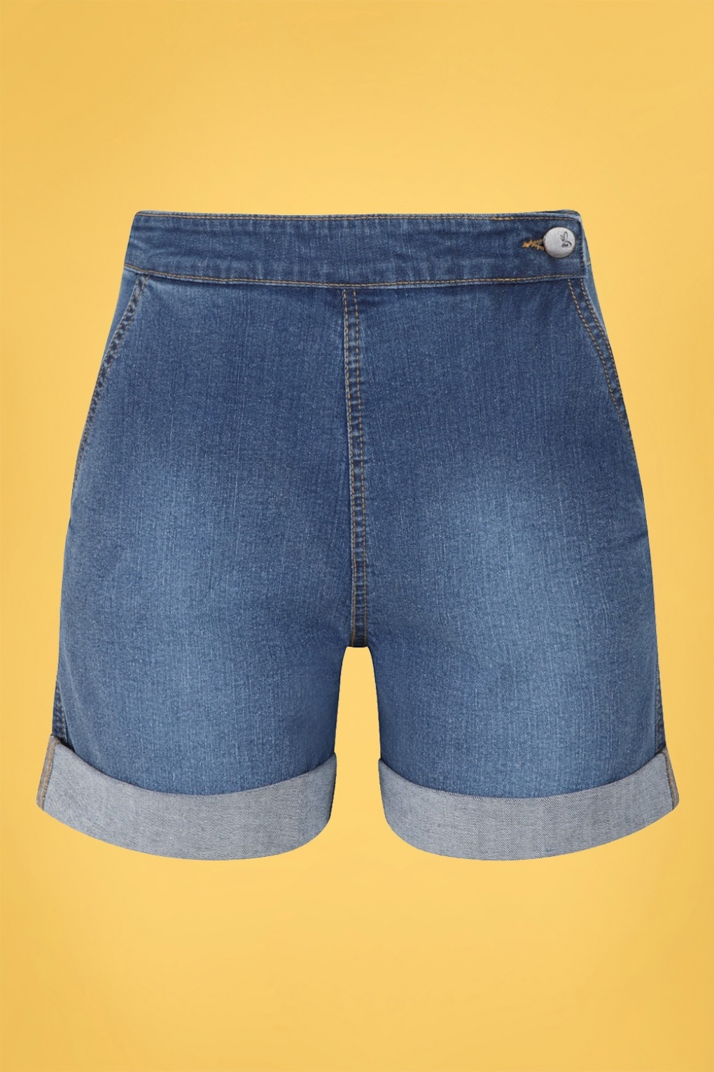 Vintage High Waisted Shorts, Sailor Shorts, Retro Shorts 50s Nash Denim Shorts in Blue £34.95 AT vintagedancer.com