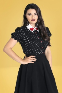 Bunny 50s Allie Hearts Blouse in Black