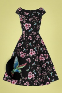 Bunny 32566 Madison Floral Swing Dress Black 022LZ