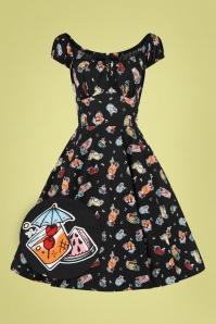 Bunny 50s Pina Colada Swing Dress in Black