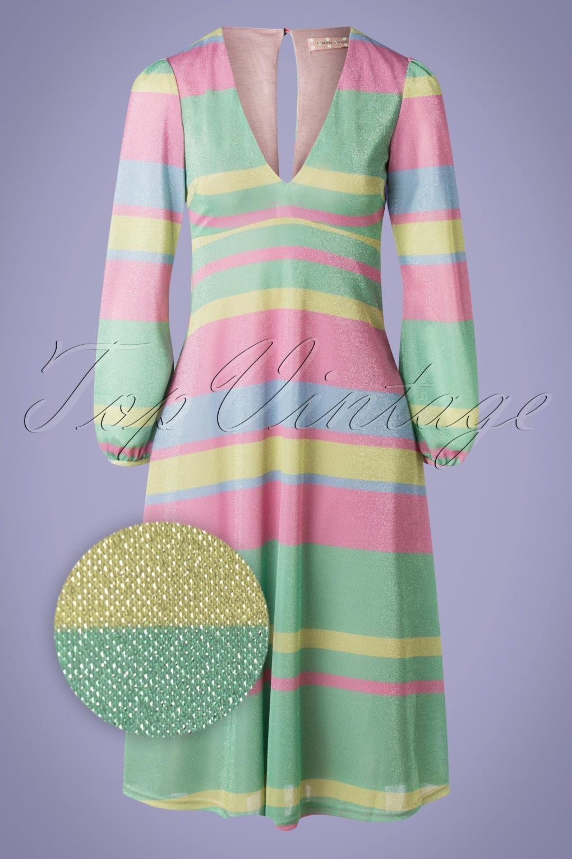 70s Dresses – Disco Dress, Hippie Dress, Wrap Dress 70s Mama Mia Glitter Dress in Multi £131.56 AT vintagedancer.com
