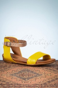 Miz Mooz 32065 Sandals Yellow Brown Leather Mustard 200205 009W