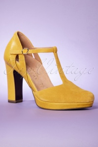 Tamaris 32341 Yellow Sunny Tstrap Shoes Heels 200204 003 W