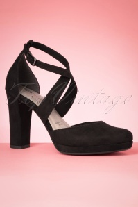 Tamaris 60s Tammy Suedine Pumps in Black