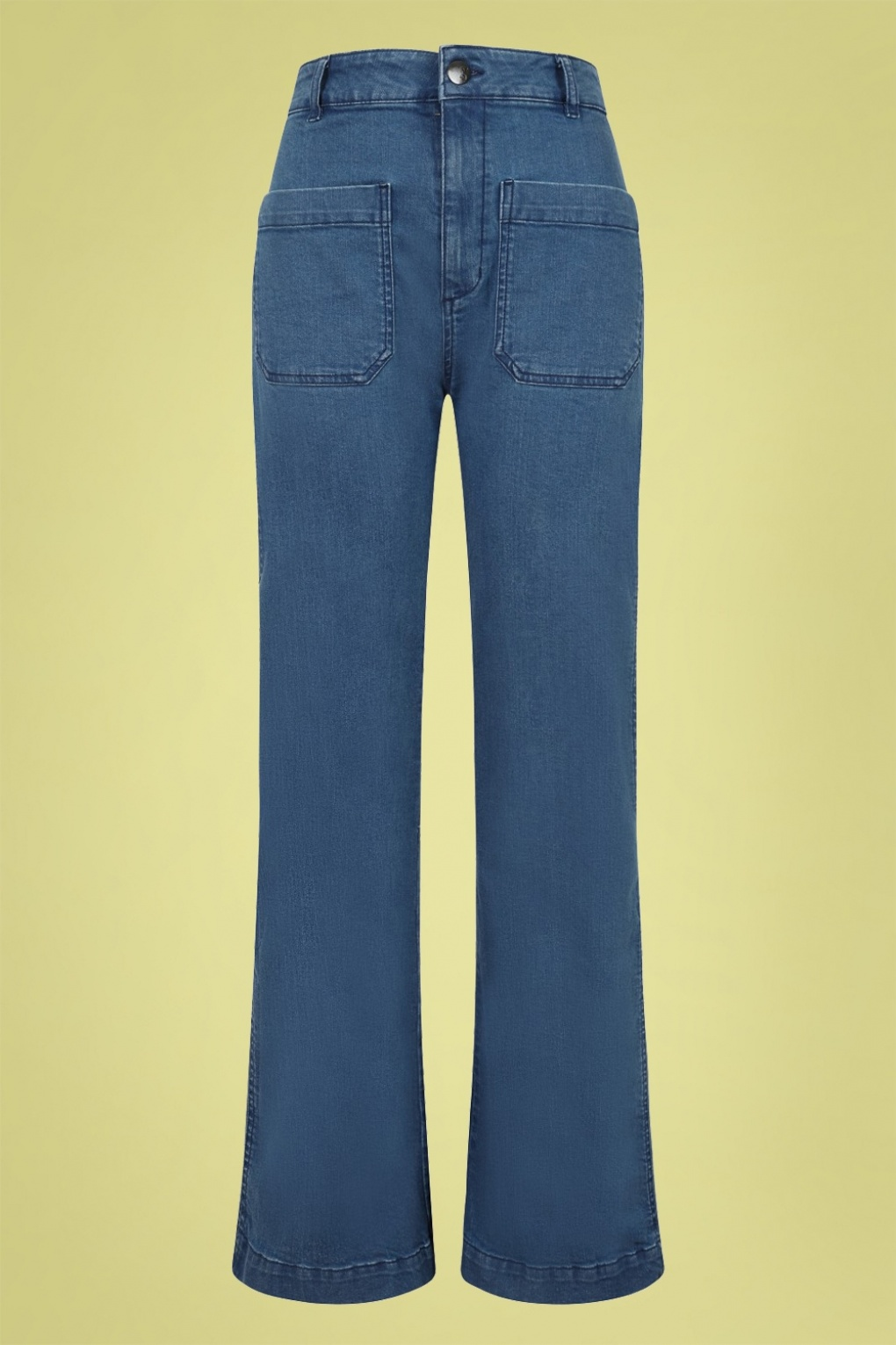 Vintage High Waisted Trousers, Sailor Pants, Jeans 70s Birkin Denim Jeans in Blue £39.74 AT vintagedancer.com