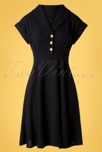 Hell Bunny 32556 Swingdress Black Buttondown 02062020 002W