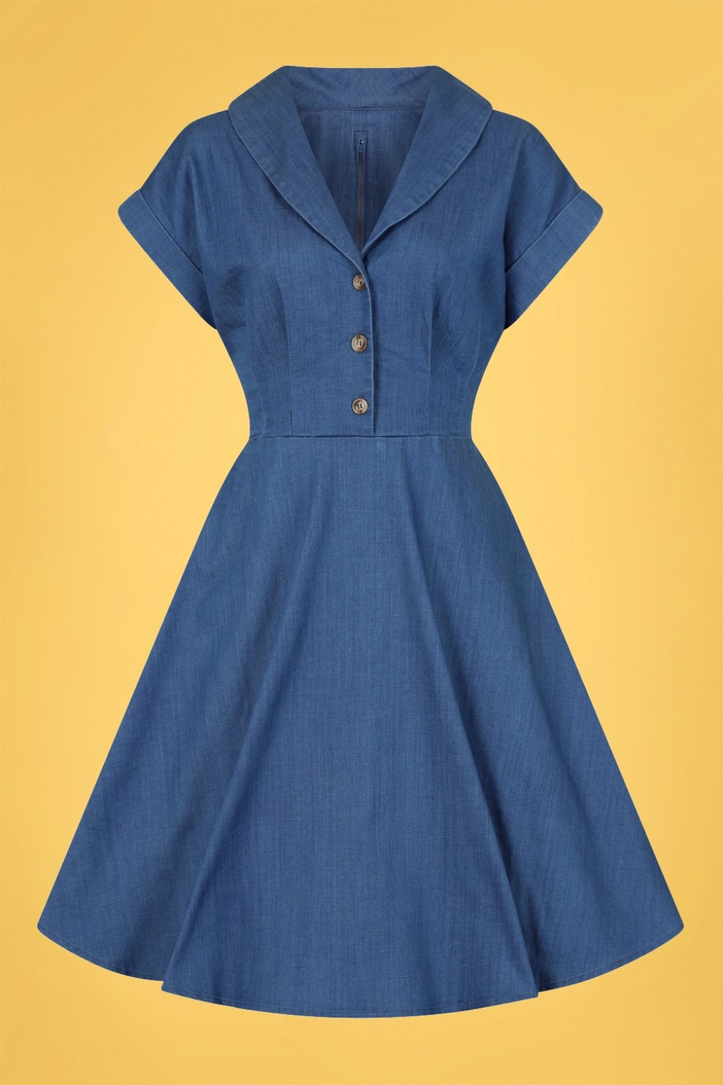 Vintage 50s Dresses: Best 1950s Dress Styles 50s Freddie Swing Dress in Denim Blue £52.29 AT vintagedancer.com
