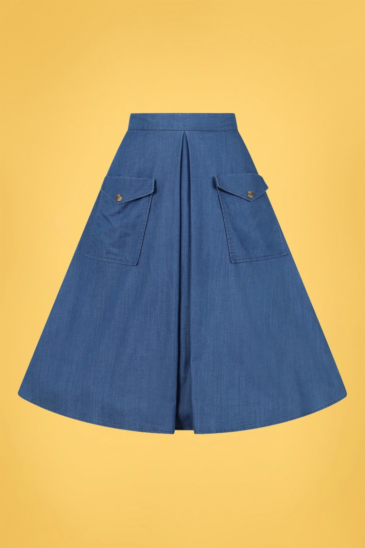 1950s Swing Skirt, Poodle Skirt, Pencil Skirts 50s Freddie Skirt in Denim Blue £53.14 AT vintagedancer.com