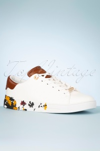 Ted Baker 30987 Sneaker White Yellow Brown Leather Flowers 200205 005 W