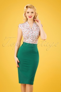 50s Classic Pencil Skirt in Emerald Green